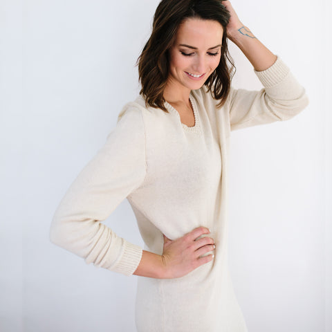 The Vee Sweater Dress - Ecru