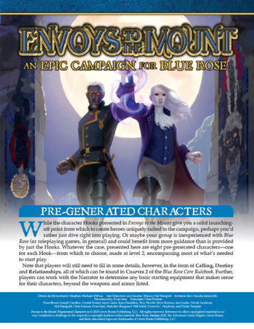 Envoys to the Mount Pre-Generated Characters (Free Blue Rose PDF)