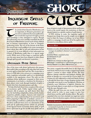 Pathfinder Short Cuts: Inquisitor Spells of Freeport (PDF)
