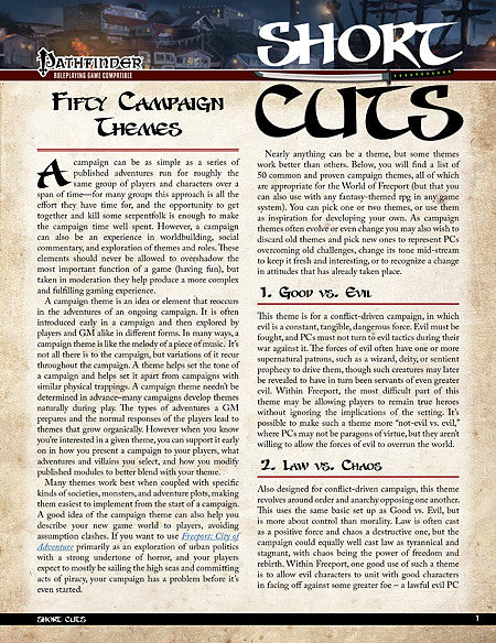 Pathfinder Short Cuts: Fifty Campaign Themes (PDF)