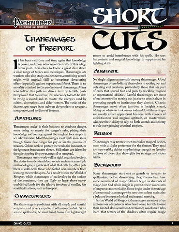 Pathfinder Short Cuts: Thanemages of Freeport (PDF)