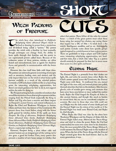 Pathfinder Short Cuts: Witch Patrons of Freeport (PDF)