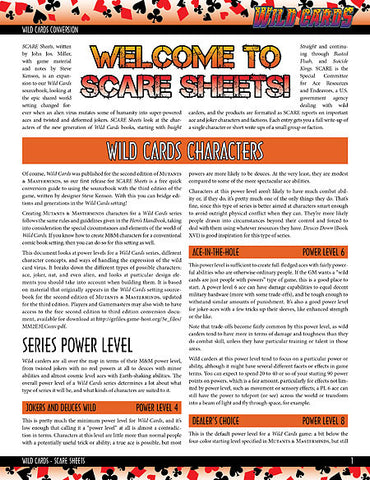 Wild Cards SCARE Sheet 0: The Committee (PDF)
