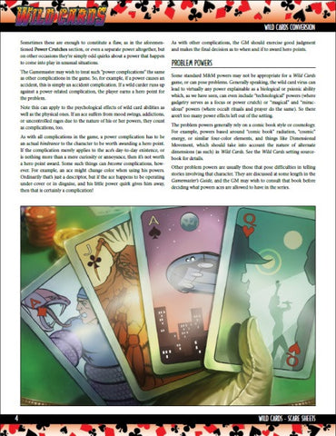 Wild Cards SCARE Sheets Compilation (PDF)