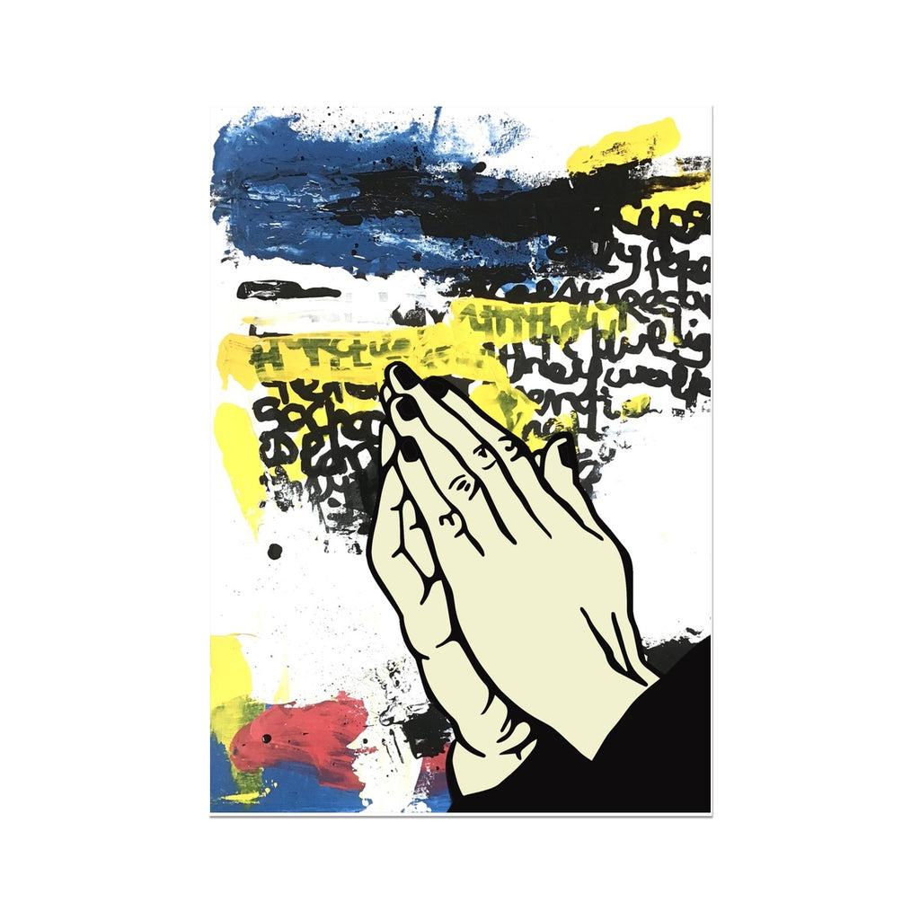 praying hand pop art print