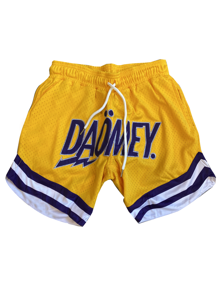 Yellow Mesh basketball Shorts