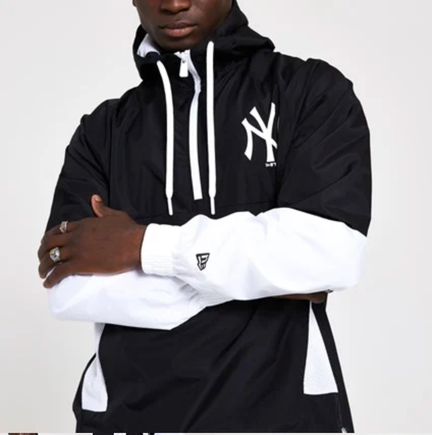 NEW YORK YANKEES BLACK INFILL WINDBREAKER JACKET