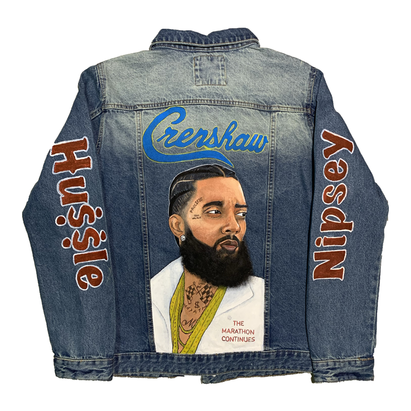 Nipsey Hussle Painted Denim Jacket