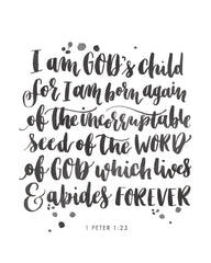 I am God's Child  | 1 Peter 1:23 | Day 19