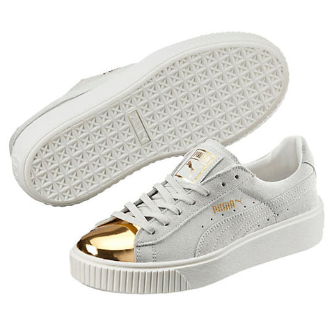 W SUEDE PLATFORM GOLD WHT LO LACE UP