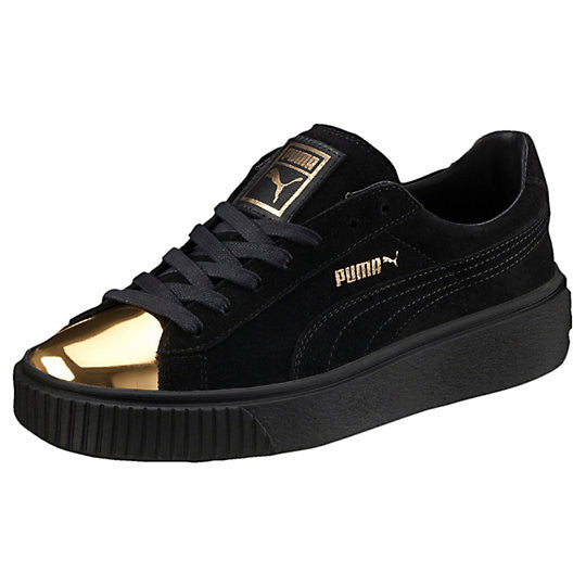 W SUEDE PLATFORM GOLD BLK LO LACE UP