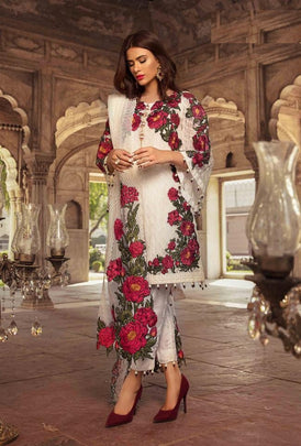 Rosemeen White Flowery Designer Pakistani Style Party Wear 1005