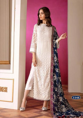 White Baroque Casual Wear Pakistani Style Dress 1144