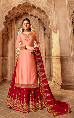 Charismatic Party Wear Designer Satin Georgette Lehenga Style Suit 3902