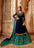 Superb Party Wear Designer Satin Georgette Lehenga Style Suit 3903
