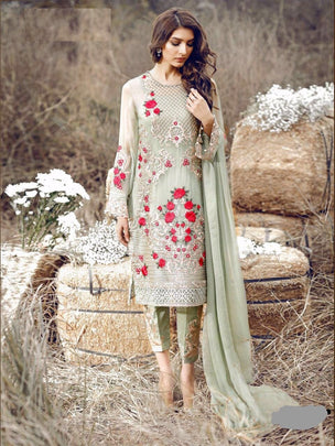 Rosemeen Festive Pakistani Designer Heavy Flower Embroidered Dress 3004