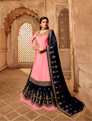 Well Flavored Party Wear Designer Satin Georgette Lehenga Style Suit 3906