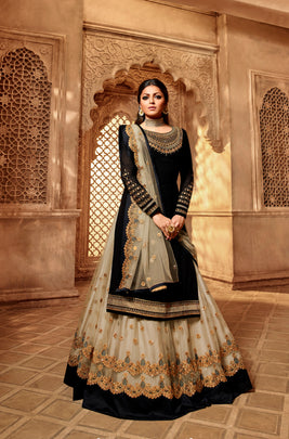 Grand Party Wear Designer Satin Georgette Lehenga Style Suit 3907