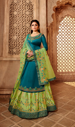 Fantastic Party Wear Designer Satin Georgette Lehenga Style Suit 3905