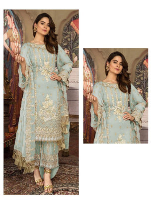 Bluish Coloured Pakistani Style Designer Suit 55004B
