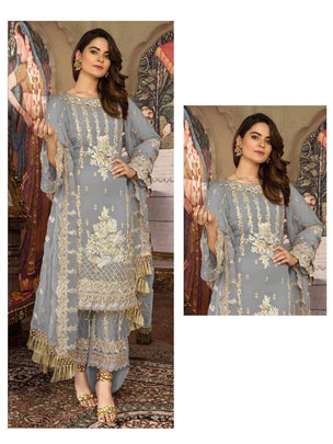Grey Coloured Pakistani Style Designer Suit 55004D