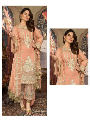 Peach Coloured Pakistani Style Designer Suit 55004