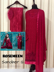 Rosemeen Festive Pakistani Designer Heavy Embroidered Red Salawar Kameez 051