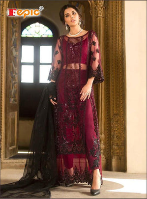 DESIGNER FESTIVAL SEASON FORMAL COLLECTION NET FABRIC EMBROIDERED 32005