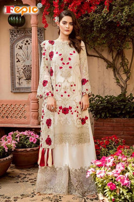 White Partywear Embroidered Georgette Plazzo Suit 41004