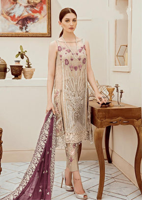 Beige Coloured Luxurious Pakistani Style Embroidered Dress 58001