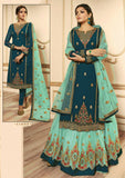 Party Wear Embroidered Designer Georgette Lehenga Style Suit 45009