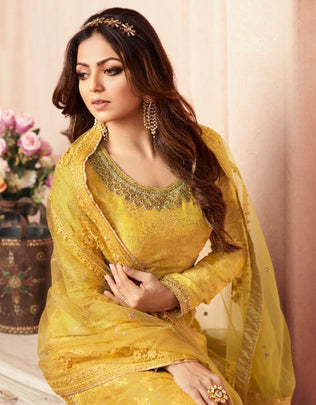 Yellow Color Grand Party Wear Designer Plazzo Suit 5405