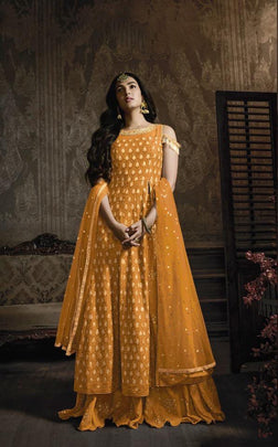 Yellow Heavy Designer Embroidered Georgette Party Wear Suit 8601