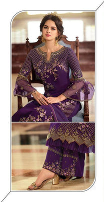 Purple Faux Georgette Embroidered Party Wear Collection