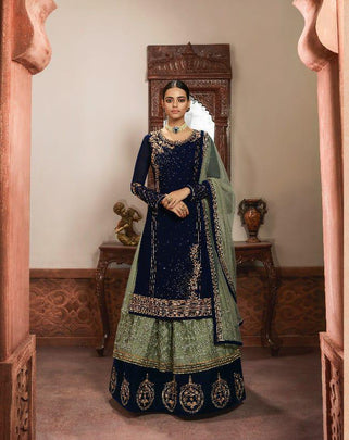 Party Wear Embroidered Designer Georgette Lehenga Style Suit