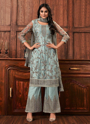 Grey Net Embroidered Floral Design Pattern Straight Heavy Party Wear Suit