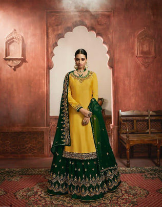 Trendy Yellow & Green Color Heavy Satin Festive PartyWear Sharara Suit