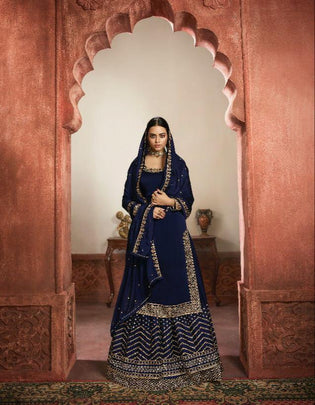 Desirable Royal Blue Colored Partywear Embroidered Silk Festive Wear Sharara Suit