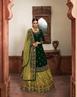 Gorgeous Green Colored Heavy Partywear Embroidered Georgette Multi Work Sharara Suit