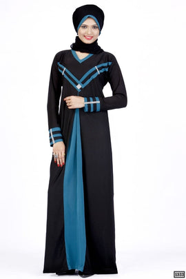 Black and Rama Abaya Dull Lycra 1533