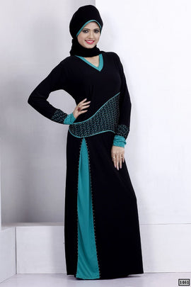 Black and Rama Abaya Dull Lycra 1461