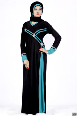 Black and Rama Abaya Dull Lycra 1535