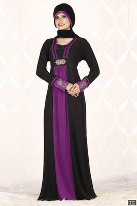 Black and Purple Abaya Dull Lycra 1498