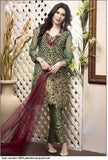 Pakistani Green Sanober Premium Luxurious Dress 0068A