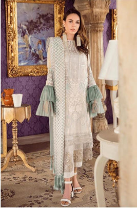 Majesty White Colored Partywear Embroidered Net Pant Style Kashmiri Suit 56001