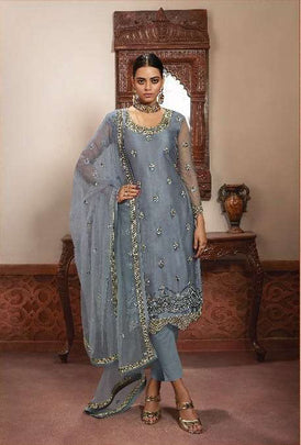Arresting Grey Color Heavy Net Partywear Embroidered Multi Work Sharara Suit