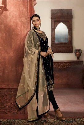 Splendorous Black Color Heavy Partywear Embroidered Georgette Sharara Suit