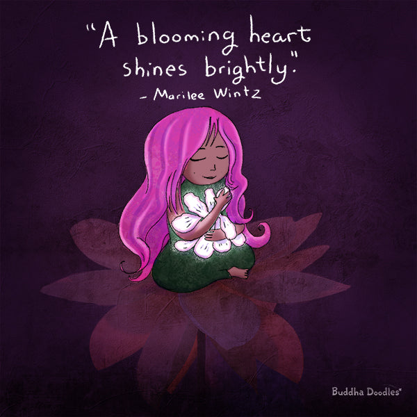 A Blooming Heart Shines Brightly | Buddha Doodles