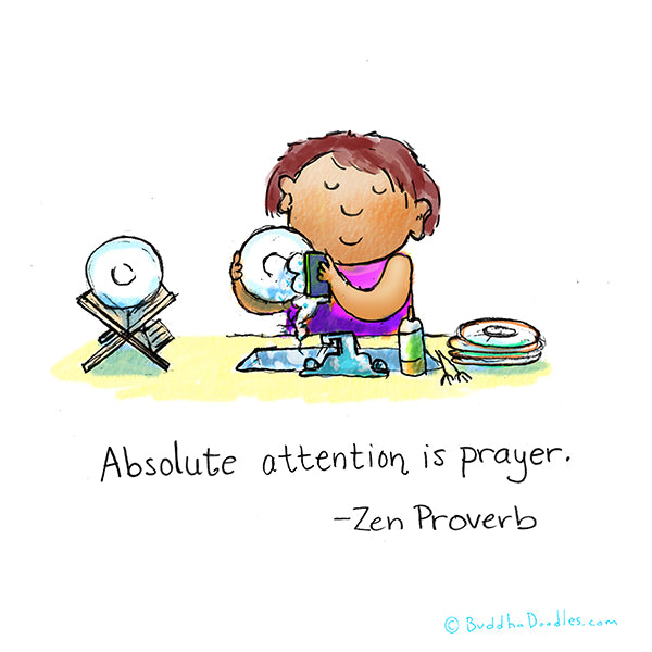 """Absolute attention is prayer"" Buddha Doodle"