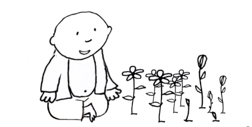 Take time for new growth: Animated Buddha Doodles